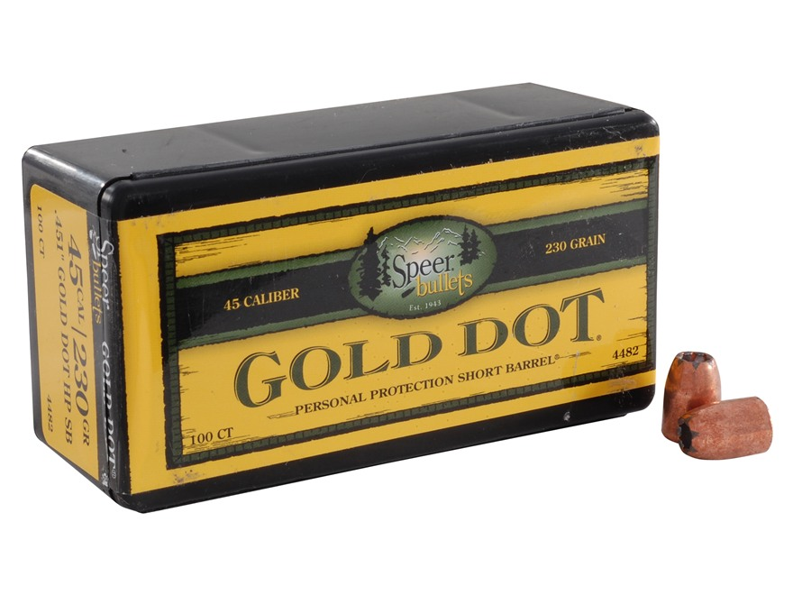 Speer Gold Dot Bullets 45 ACP Short Barrel (451 Diameter) 230 Grain Bonded Jacketed Hol...