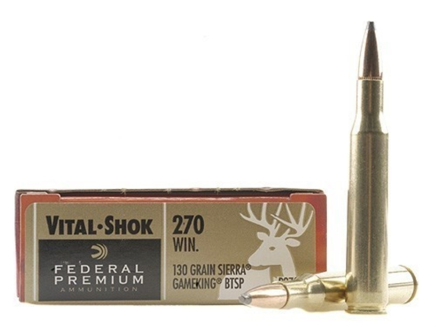 Federal Premium Vital-Shok Ammunition 270 Winchester 130 Grain Sierra GameKing Soft Poi...