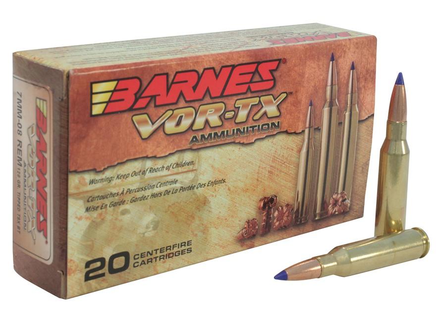 Barnes VOR-TX Ammunition 7mm-08 Remington 120 Grain Tipped Triple-Shock X Bullet Boat T...