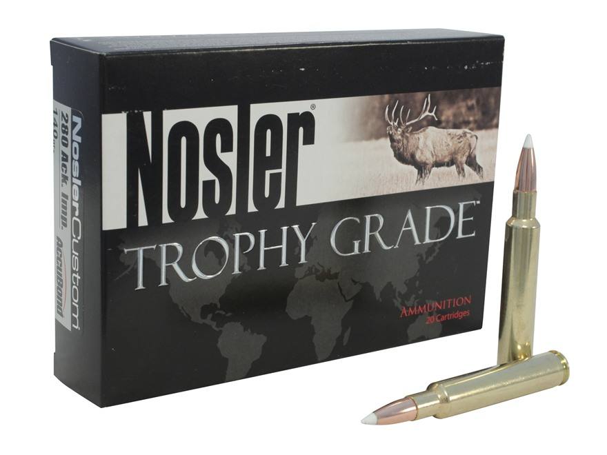 Nosler Trophy Grade Ammunition 280 Ackley Improved 140 Grain AccuBond Box of 20