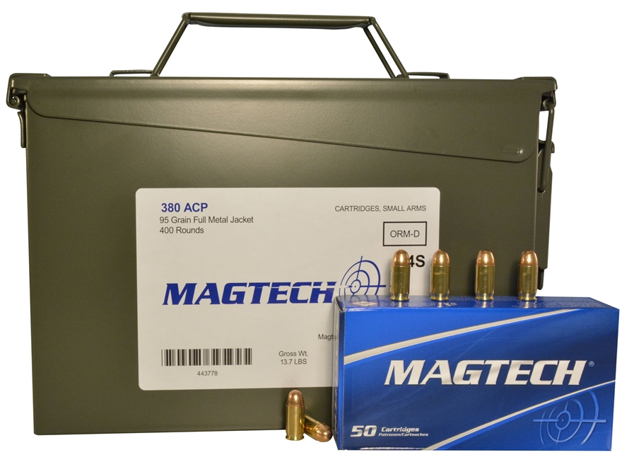 Magtech Sport Ammunition 380 ACP 95 Grain Full Metal Jacket Ammo Can of 400 (8 Boxes of...