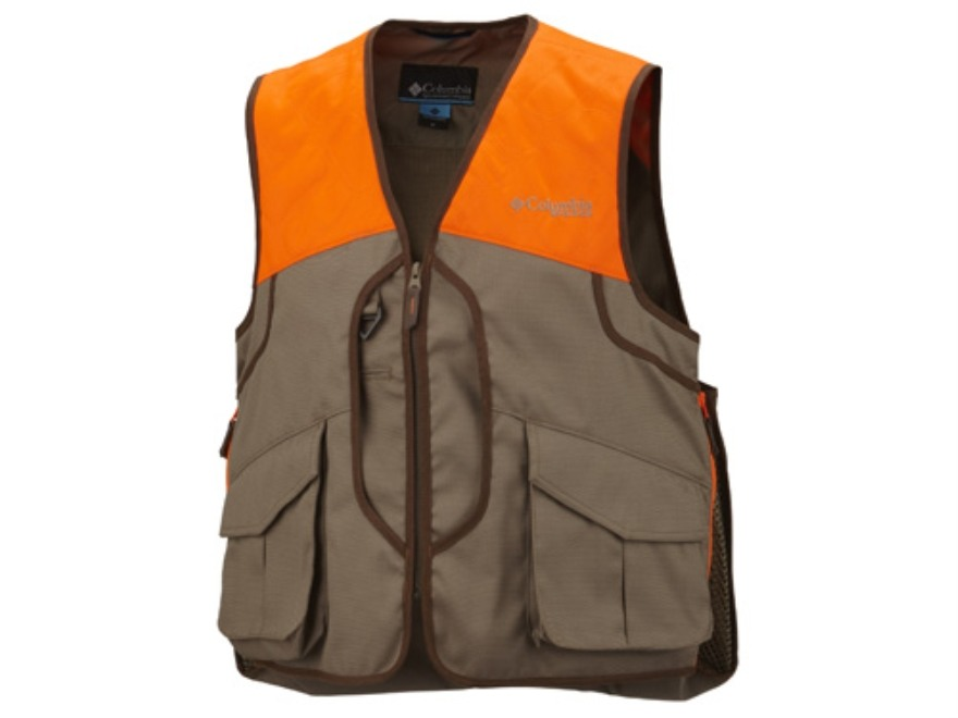 Columbia Sportswear Men's Ptarmigan II Vest Polyester Flax and Blaze Orange Large 42-45