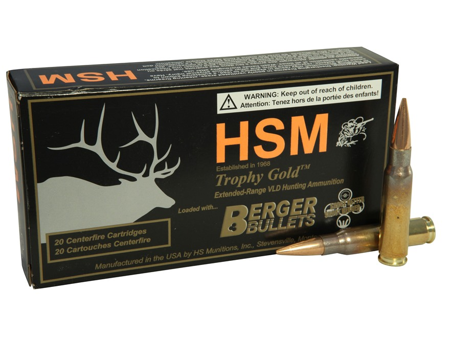 HSM Trophy Gold Ammunition 308 Winchester 168 Grain Berger Hunting VLD Hollow Point Boa...