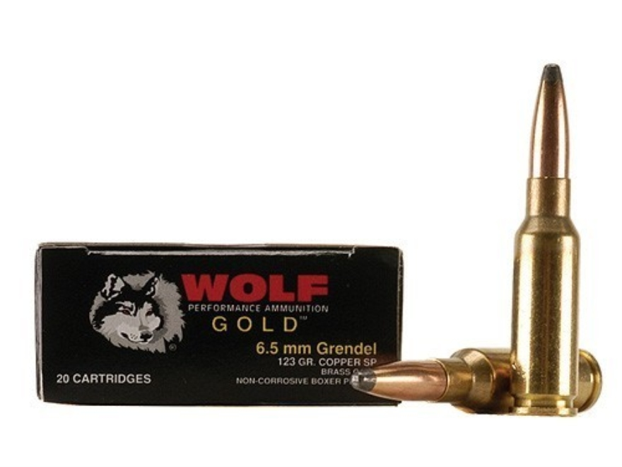 Wolf Gold Ammunition 6.5 Grendel 123 Grain Soft Point Box of 20