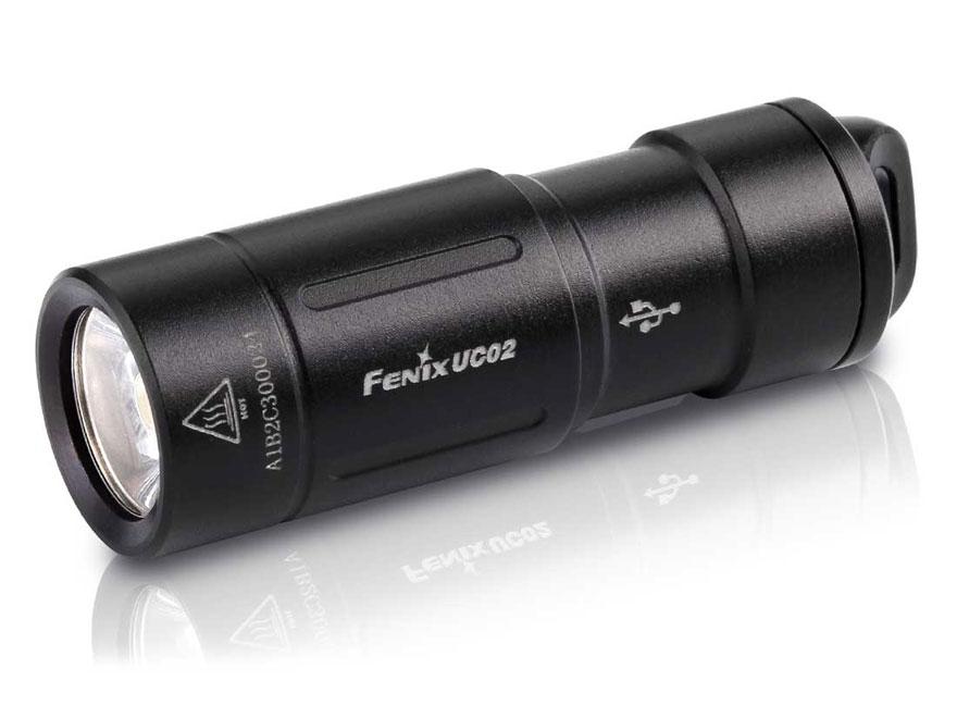 Fenix UC02 Mini Flashlight LED with Rechargeable 10180 Li-ion Battery Aluminum Black