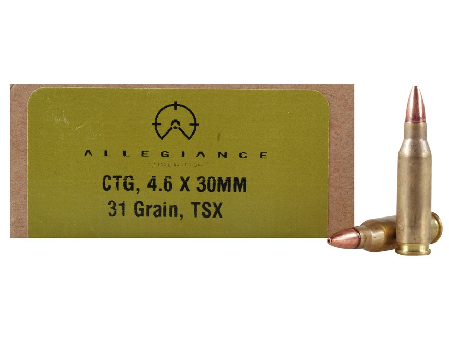 Allegiance Ammunition 4.6x30 HK 31 Grain Lead-Free TSX Box of 40