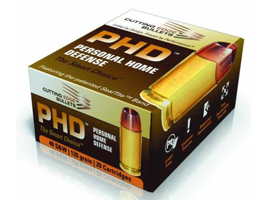 Cutting Edge Bullets PHD Ammunition 40 S&W, 10mm Auto 120 Grain HG Raptor Hollow Point ...