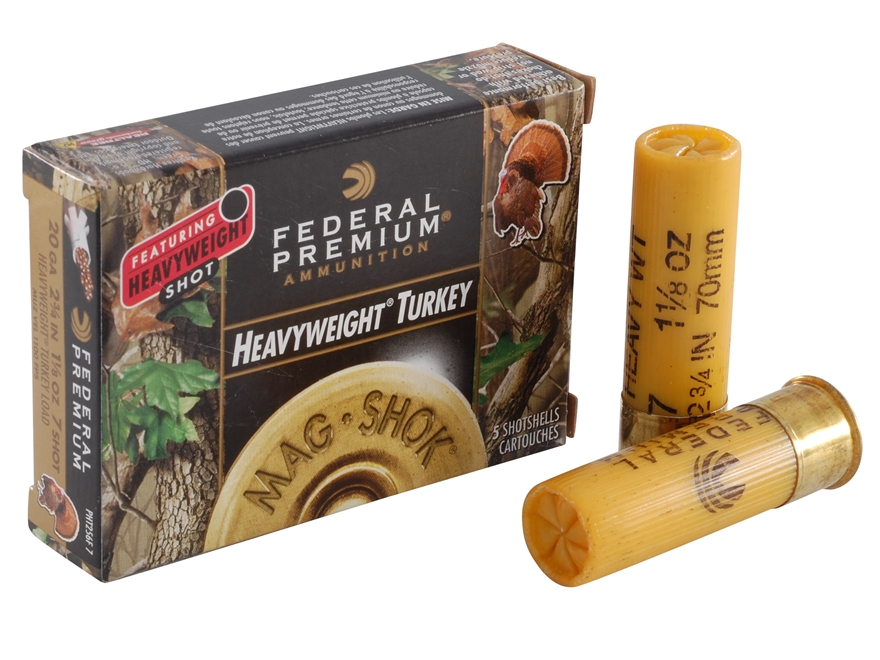 "Federal Premium Mag-Shok Turkey Ammunition 20 Gauge 2-3/4"" 1-1/8 oz #7 Heavyweight Shot..."