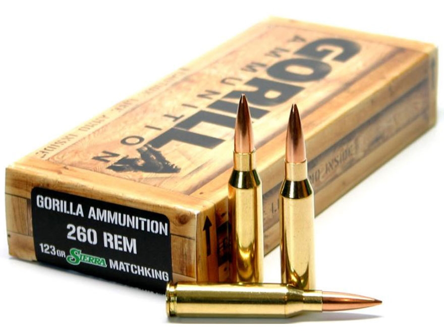 Gorilla Ammunition 260 Remington 123 Grain Sierra MatchKing Hollow Point Boat Tail
