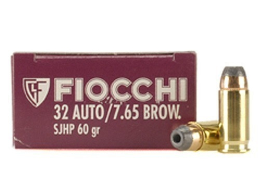 Fiocchi Shooting Dynamics Ammunition 32 ACP 60 Grain Jacketed Hollow Point Box of 50