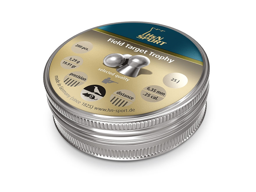 H&N Field Target Trophy Air Gun Pellets 25 Caliber 19.91 Grain 6.35mm Head-Size Domed T...