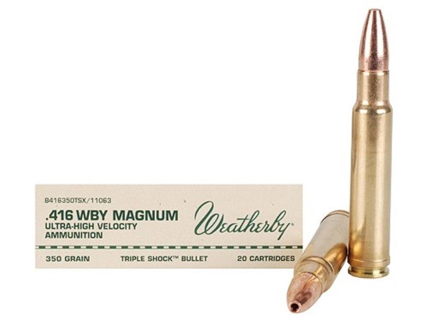 Weatherby Ammunition 416 Weatherby Magnum 350 Grain Barnes Triple-Shock X Bullet Hollow...