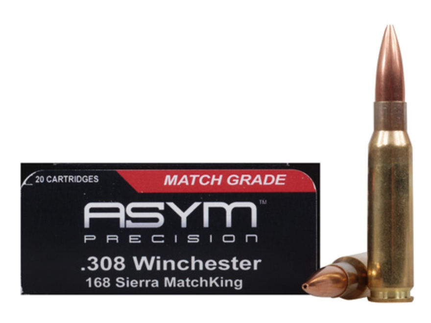 ASYM Precision Tactical Match Ammunition 308 Winchester 168 Grain Open-Tip Match (OTM) ...