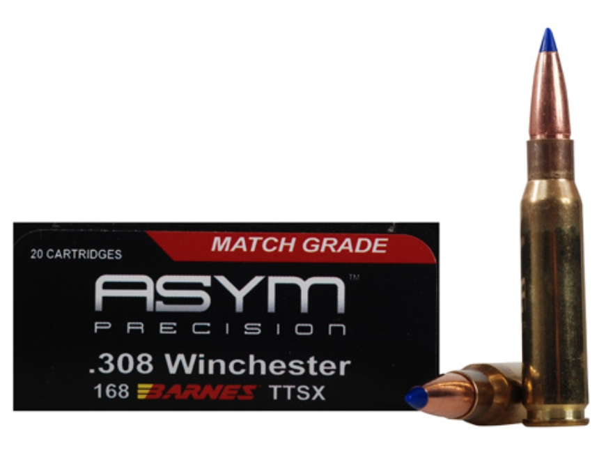 ASYM Precision Solid Defense X Ammunition 308 Winchester 168 Grain Barnes Tipped Triple...