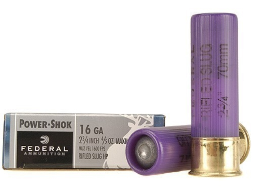 "Federal Power-Shok Ammunition 16 Gauge 2-3/4"" 4/5 oz Hollow Point Rifled Slug"