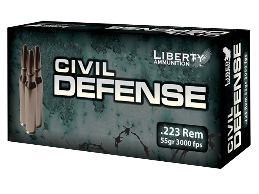 Liberty Civil Defense Ammunition 223 Remington 55 Grain Fragmenting Hollow Point Lead-F...
