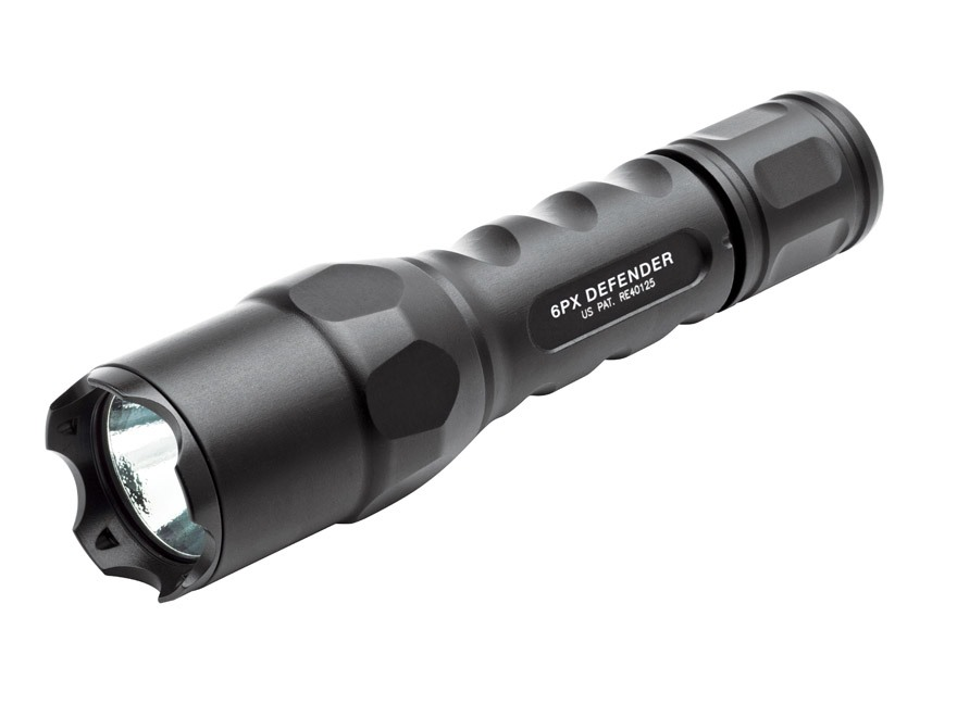 Surefire 6PX Defender Flashlight LED with 2 CR123A Batteries Aluminum Black