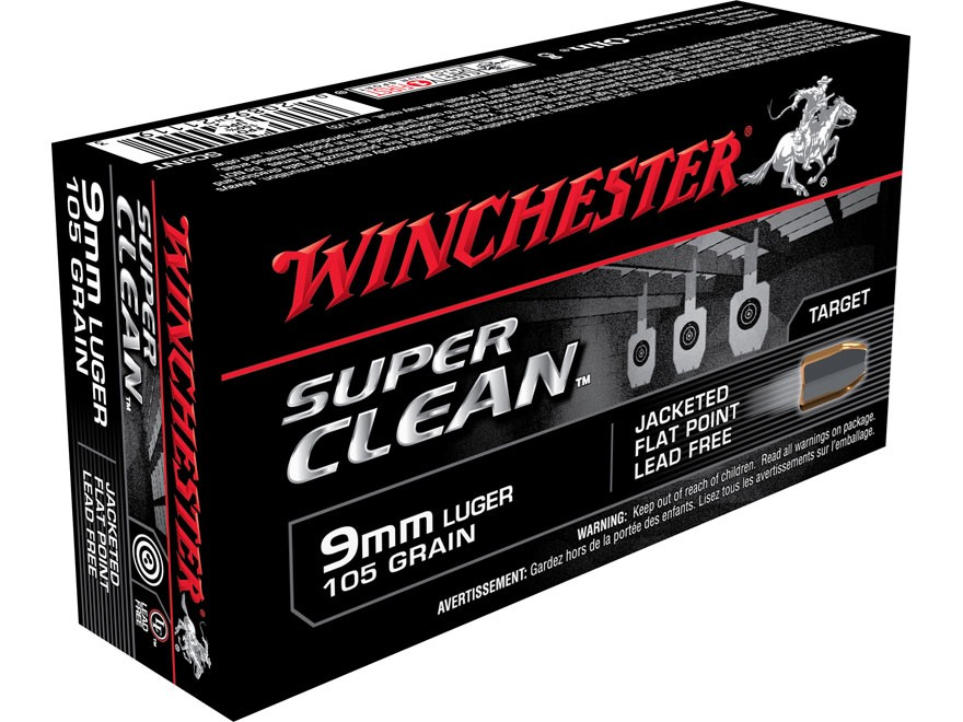 Winchester Super Clean NT Ammunition 9mm Luger 105 Grain Jacketed Flatt Point Box of 50
