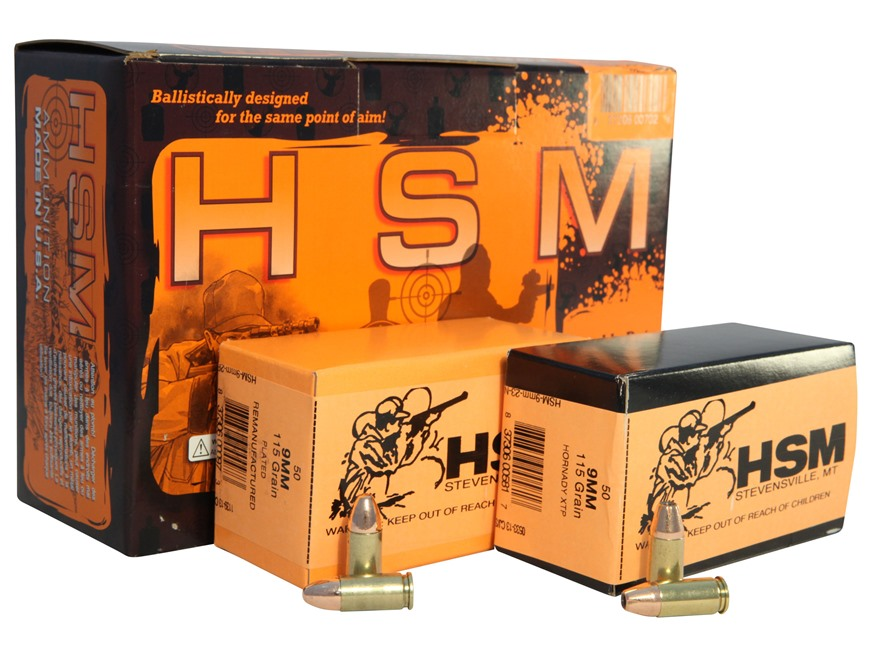 HSM Double Duty Ammunition Combo Pack 9mm Luger 115 Grain Full Metal Jacket and 115 Gra...