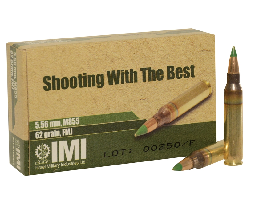 IMI Ammunition 5.56x45mm NATO 62 Grain M855 SS109 Penetrator Full Metal Jacket Boat Tail