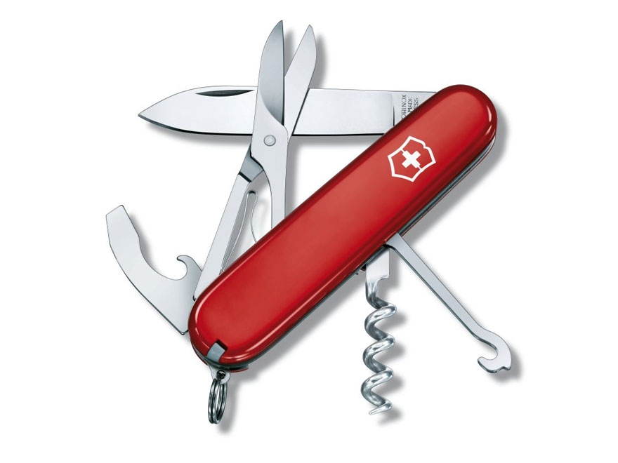 Victorinox Swiss Army Compact Folding Pocket Knife 15 Function Stainless Steel Blade Po...