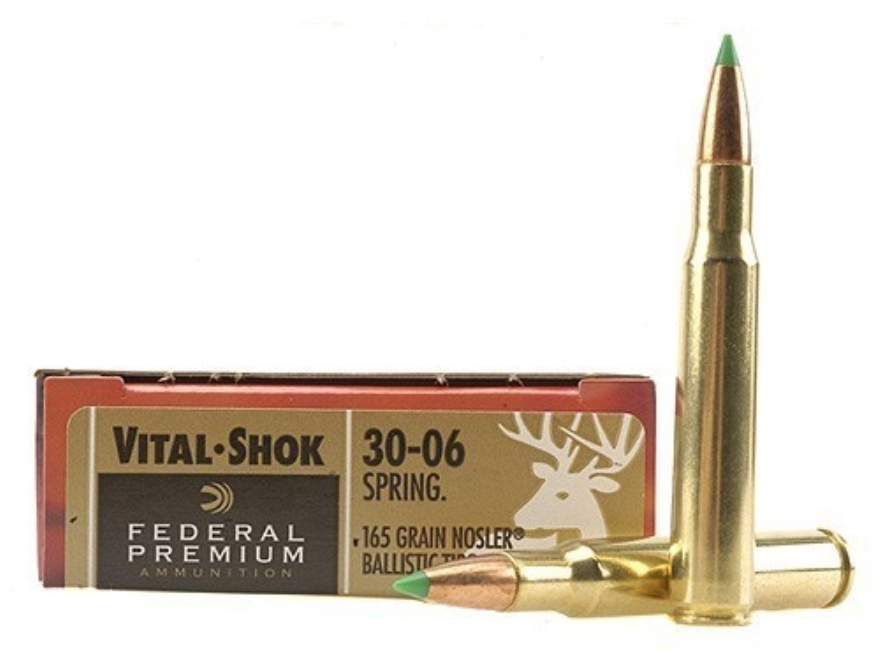 Federal Premium Vital-Shok Ammunition 30-06 Springfield 165 Grain Nosler Ballistic Tip ...