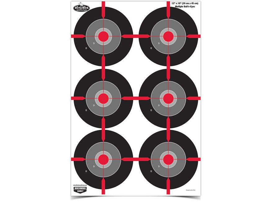 "Birchwood Casey Dirty Bird Multiple Bull's-Eye 12"" x 18"" Target Pack of 8"