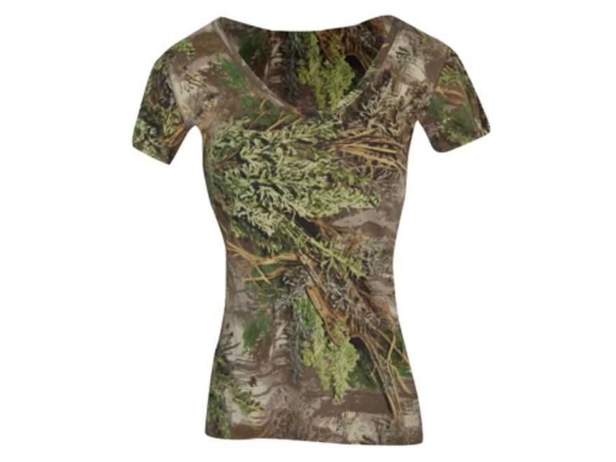 Realtree Girl Women's Redwood V-Neck T-Shirt Short Sleeve Cotton Realtree Max-1 Camo Sm...