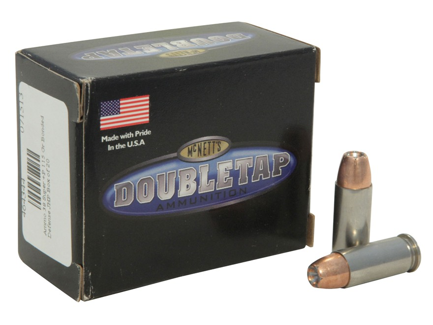 Doubletap Ammunition 38 Super +P 115 Grain Bonded Defense Jacketed Hollow Point Box of 20