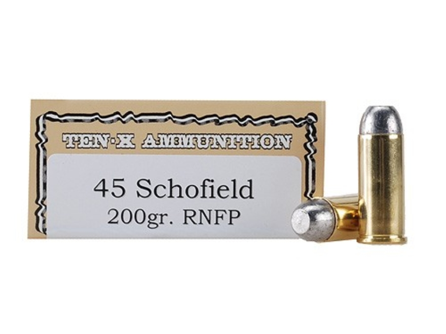 Ten-X Cowboy Ammunition 45 S&W Schofield 200 Grain Lead Round Nose Flat Point Box of 50