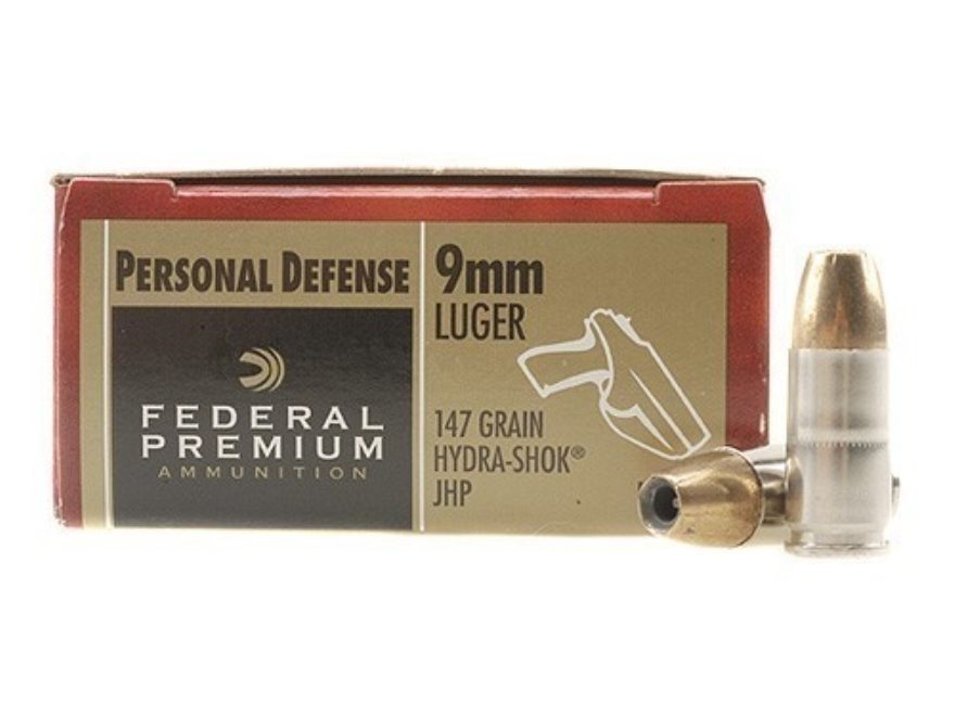 Federal Premium Personal Defense Ammunition 9mm Luger 147 Grain Hydra-Shok Jacketed Hol...