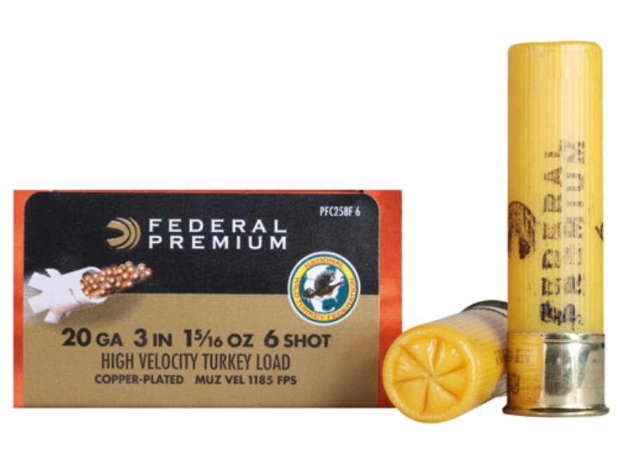"Federal Premium Mag-Shok Turkey Ammunition 20 Gauge 3"" 1-5/16 oz #6 Copper Plated Shot ..."