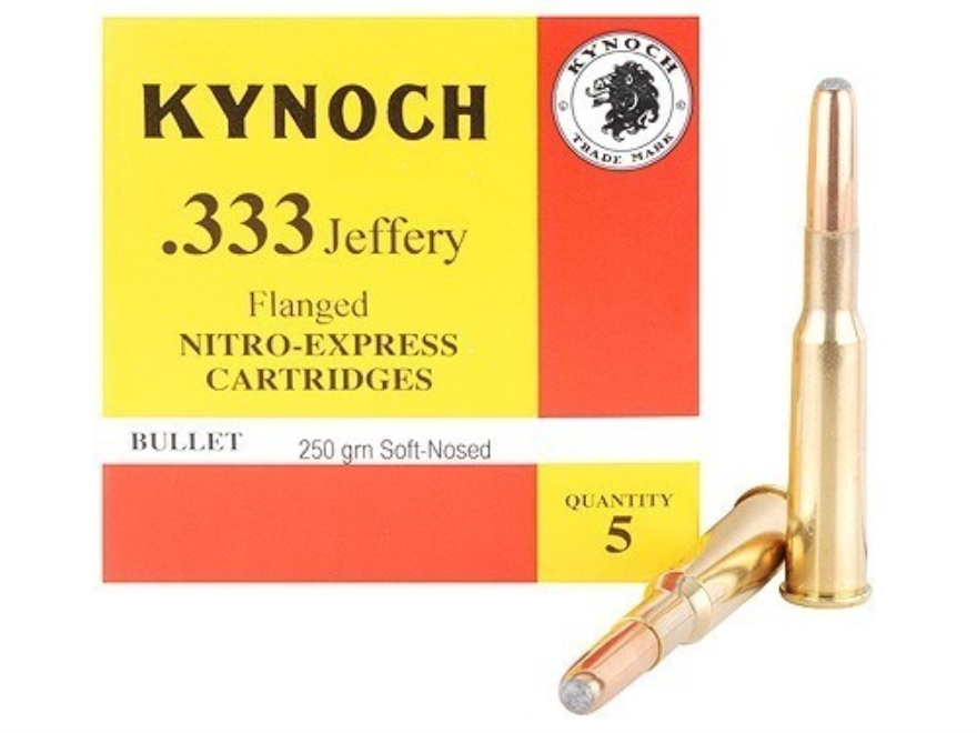 Kynoch Ammunition 333 Jeffery Flanged 250 Grain Woodleigh Weldcore Soft Point Box of 5