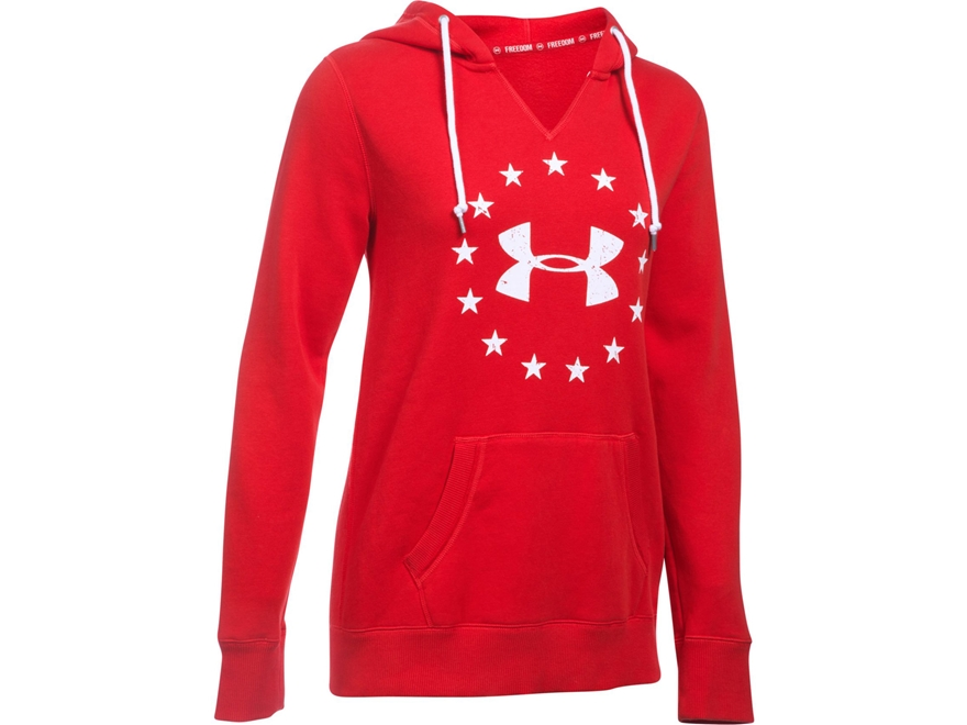 Under Armour Women's UA Freedom Favorite Fleece Logo Hoodie Cotton and Polyester Red Small