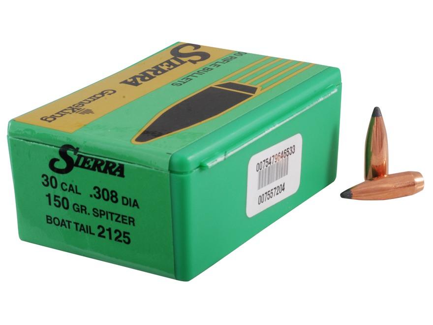 Sierra GameKing Bullets 30 Caliber (308 Diameter) 150 Grain Spitzer Boat Tail Box of 100