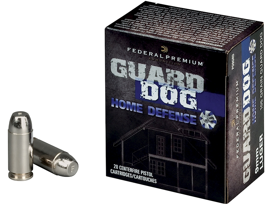 Federal Premium Guard Dog Home Defense Ammunition 9mm Luger 105 Grain Expanding Full Me...