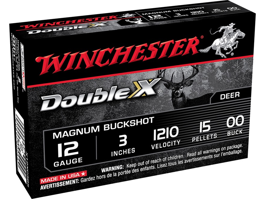 "Winchester Double X Magnum Ammunition 12 Gauge 3"" Buffered 00 Copper Plated Buckshot 15..."