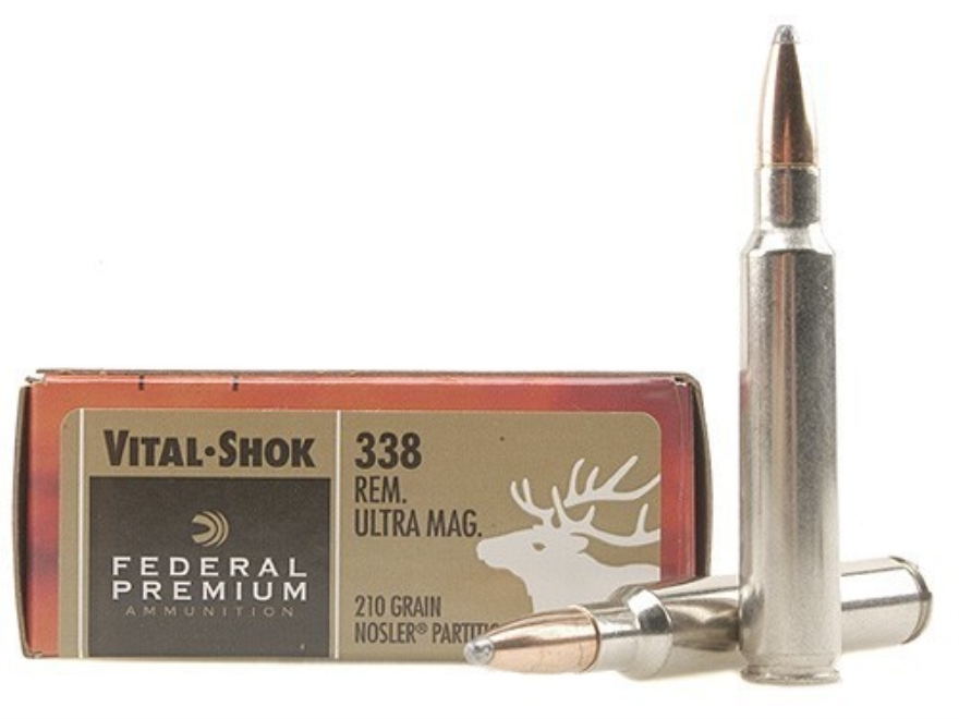 Federal Premium Vital-Shok Ammunition 338 Remington Ultra Magnum 210 Grain Nosler Parti...