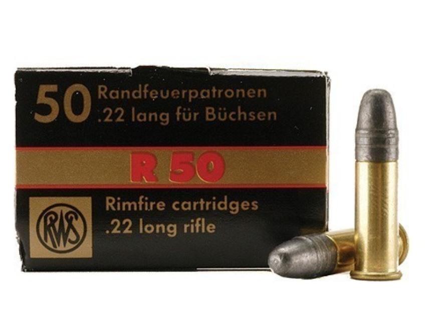 RWS R-50 Ammunition 22 Long Rifle 40 Grain Lead Round Nose