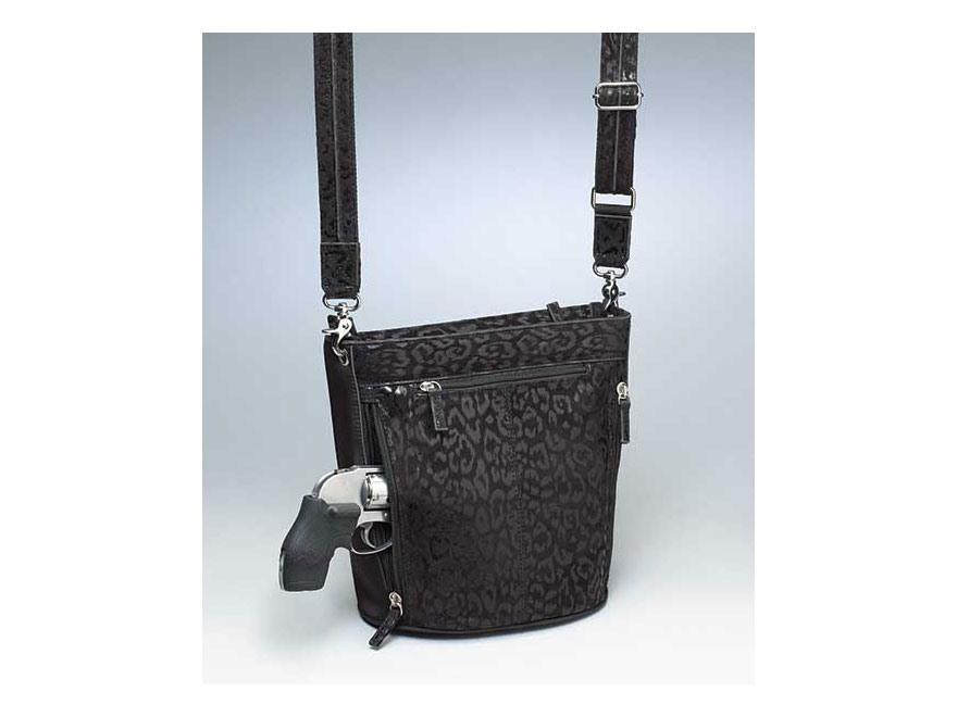 Gun Tote'N Mamas Bucket Tote Debossed Sueded Leather Handbag Black