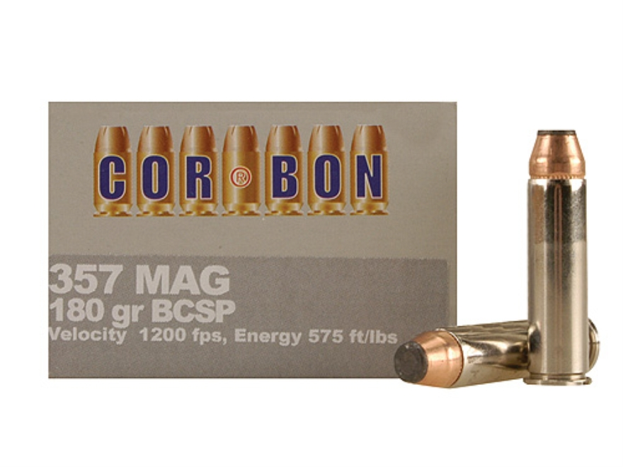Cor-Bon Hunter Ammunition 357 Magnum 180 Grain Bonded Core Soft Point Box of 20