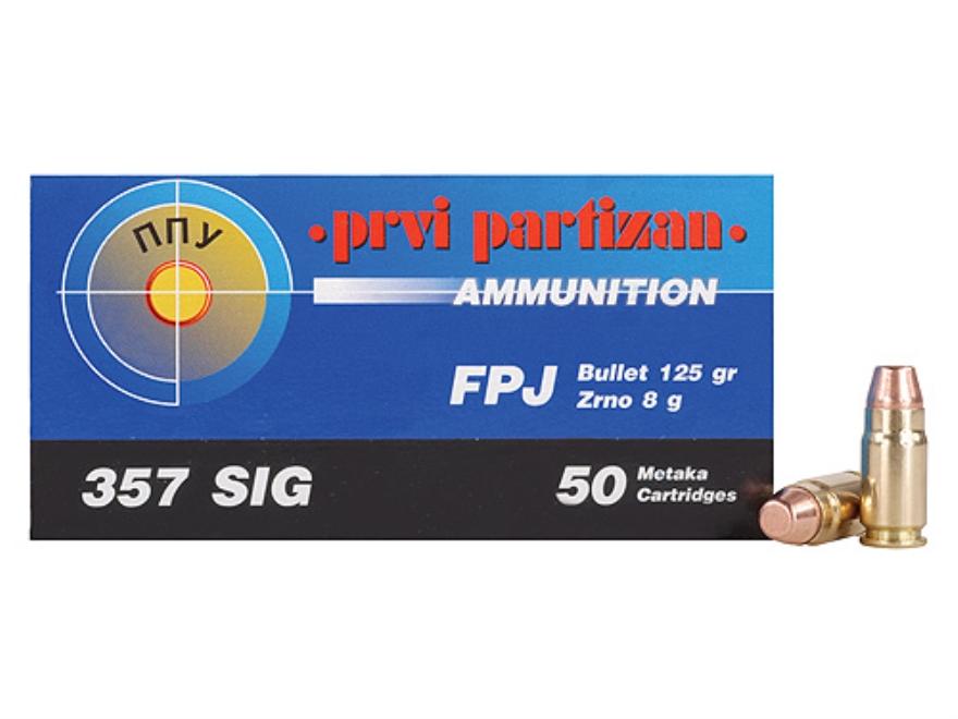 Prvi Partizan Ammunition 357 Sig 125 Grain Full Metal Jacket Flat Point Box of 50