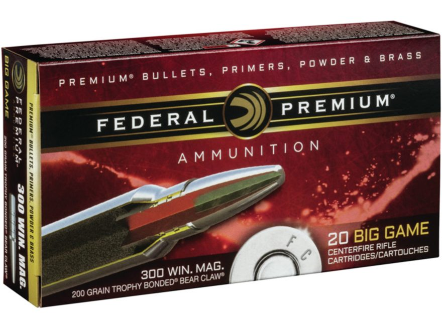 Federal Premium Vital-Shok Ammunition 300 Winchester Magnum 200 Grain Speer Trophy Bond...