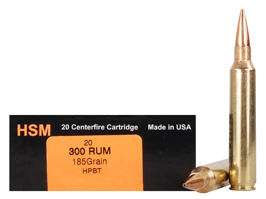 HSM Trophy Gold Ammunition 300 Remington Ultra Magnum 185 Grain Berger Hunting VLD Holl...
