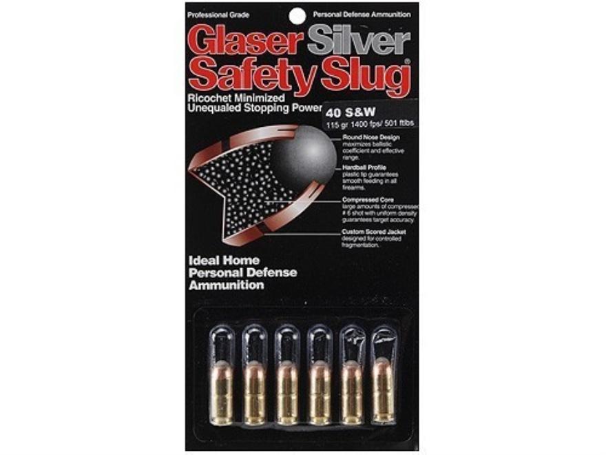 Glaser Silver Safety Slug Ammunition 40 S&W 115 Grain Safety Slug Package of 6