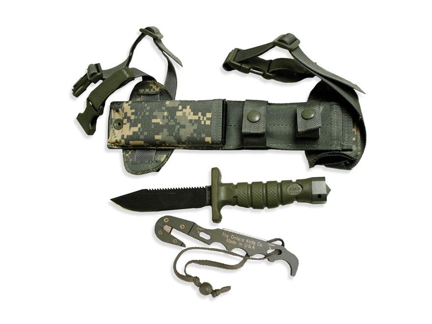 "Ontario ASEK Survival Knife System Tactical 5"" Drop Point Carbon Steel Blade Polymer Ha..."