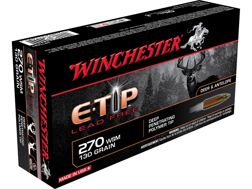 Winchester E-Tip Ammunition 270 Winchester Short Magnum (WSM) 130 Grain Lead-Free Polym...