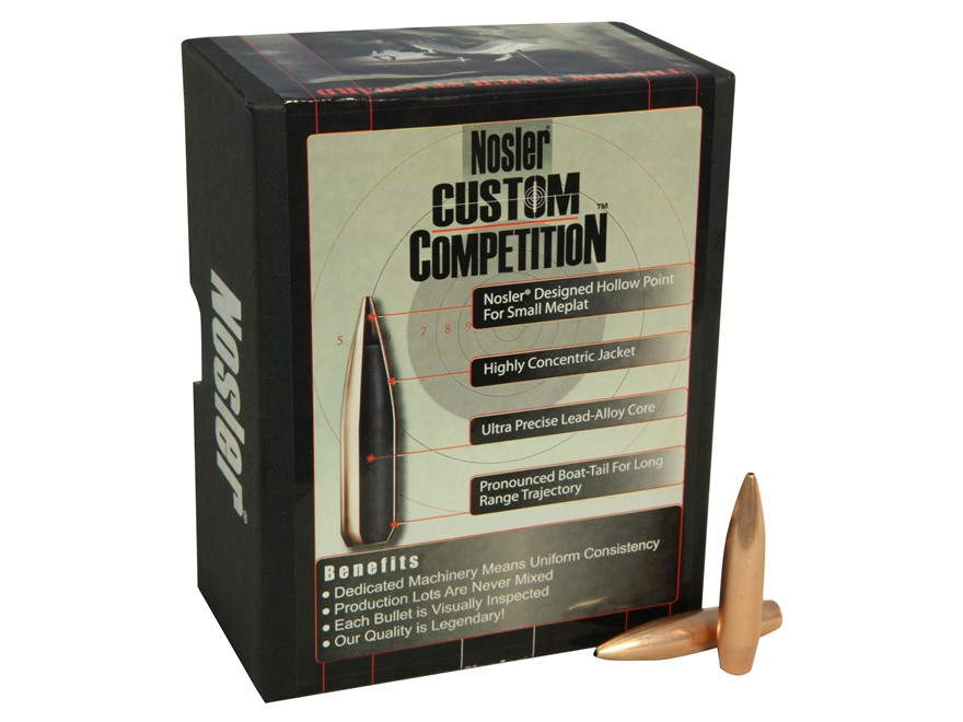 Nosler Custom Competition Bullets 30 Caliber (308 Diameter) 220 Grain Hollow Point Boat...