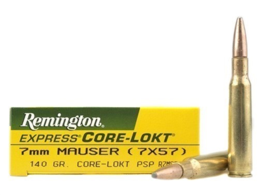 Remington Express Ammunition 7x57mm Mauser (7mm Mauser) 140 Grain Core-Lokt Pointed Sof...