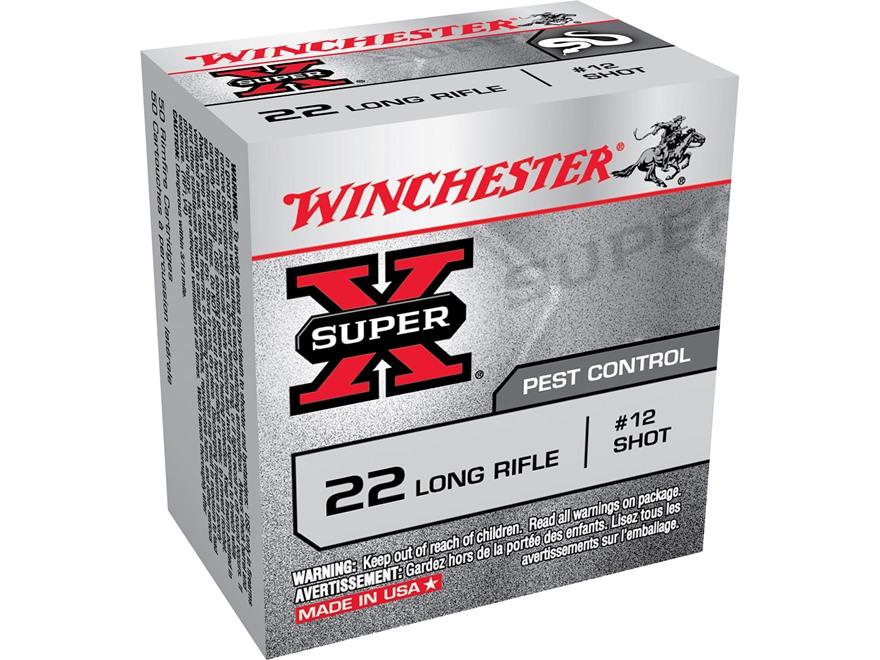 Winchester Super-X Ammunition 22 Long Rifle 25 Grain #12 Shot Shotshell Box of 50